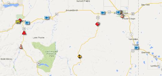 Dawson Creek Flooding Road Map